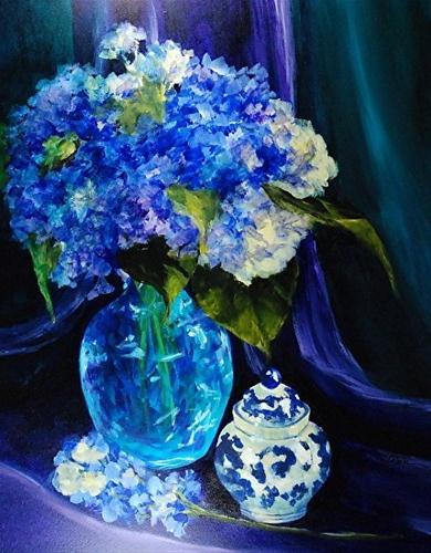 """""""Glowing Hydrangeas_14x11 inch acrylic still life"""" original fine art by Donna Pierce-Clark"""
