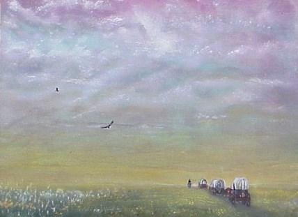 """Wagons West"" original fine art by Janice Bartke Thompson"