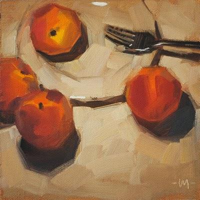 """Cannibal Peaches"" original fine art by Carol Marine"
