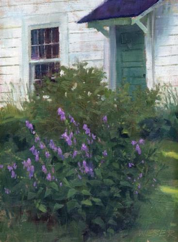 """""""Garden by the garage"""" original fine art by Kathy Weber"""