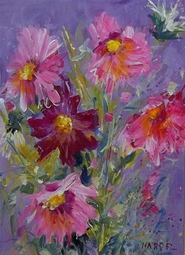 """Summer's Pink Cosmos"" original fine art by Alice Harpel"