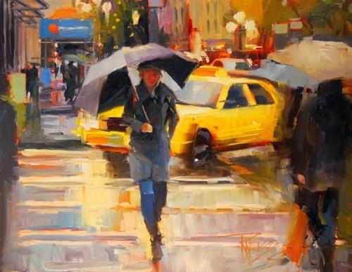 """""""Yellow Cab  Seattle cityscape by Robin Weiss"""" original fine art by Robin Weiss"""