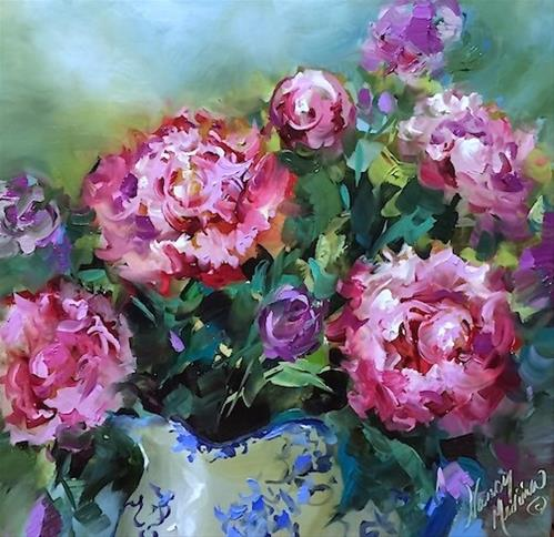 """""""Close to Heaven Pink Peonies and Remembering My Mother - Flower Painting Classes and Workshops by Na"""" original fine art by Nancy Medina"""