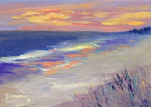 """Sunset at Myrtle Beach"" original fine art by Sue Furrow"