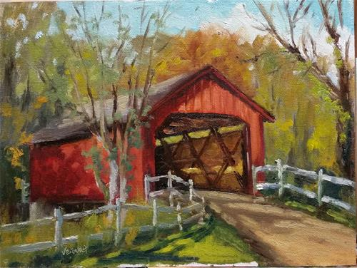 """Sandy Creek Covered Bridge-en plein air"" original fine art by Veronica Brown"