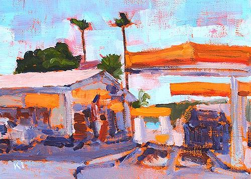 """Gas Station, Ocean Beach"" original fine art by Kevin Inman"