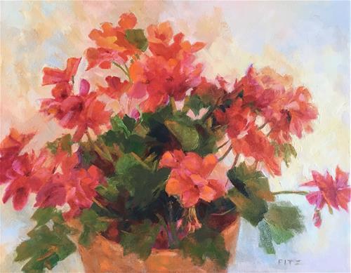 """Pot of Geraniums"" original fine art by Charlotte Fitzgerald"