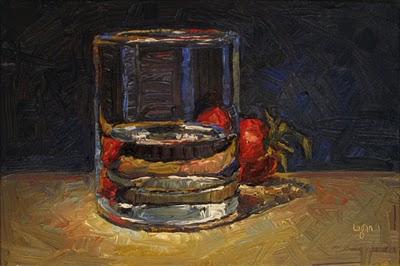 """Glass and Tomato"" original fine art by Raymond Logan"