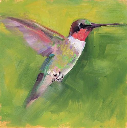"""Hummingbird"" original fine art by Deborah Newman"