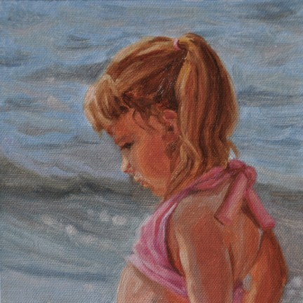 """Beach Babe 6 x 6 oil on Raymar Canvas covered panel"" original fine art by Tahirih Goffic"