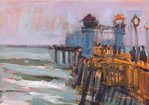 """Oceanside Pier Plein Air"" original fine art by Kevin Inman"