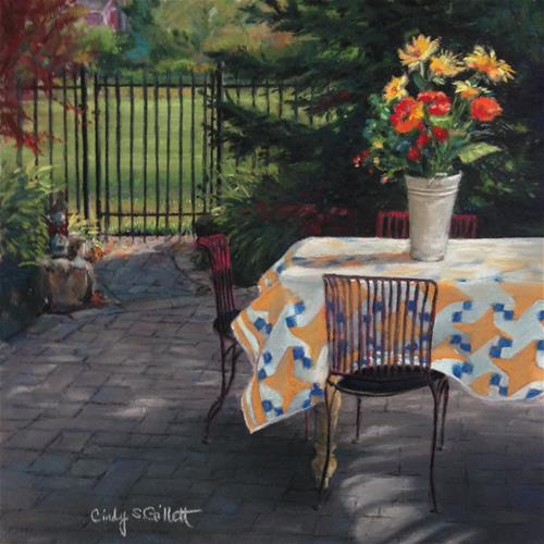"""""""Early Morning on the Patio"""" original fine art by Cindy Gillett"""