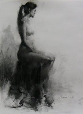 """""""Figure drawing 3"""" original fine art by Fongwei Liu"""