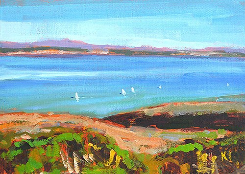 """Sailboats, San Diego Bay"" original fine art by Kevin Inman"