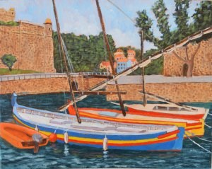 """Fishing Boats of Fort Vendres"" original fine art by Robert Frankis"