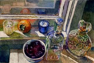 """Monotype & Watercolor: Persimmon & Vintage Whiskey Bottles"" original fine art by Belinda Del Pesco"
