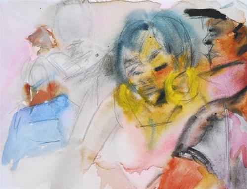 """Yellow Earrings"" original fine art by Donna Crosby"