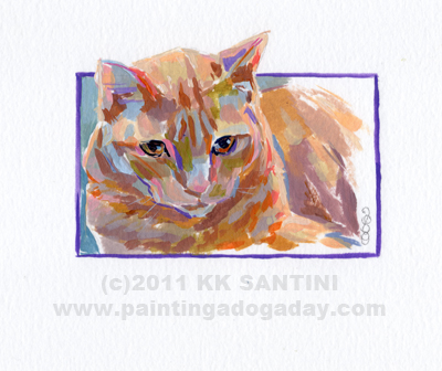"""Orange Tabby, A Painted Sketch"" original fine art by Kimberly Santini"