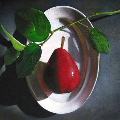 """""""Red Pear  6x6"""" original fine art by M Collier"""