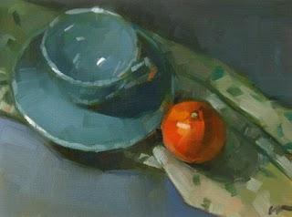 """Blue Cup"" original fine art by Carol Marine"