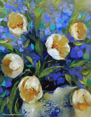 """""""Touch of Winter White Tulips and All Good Things Happen by Design - Flower Paintings by Nancy Medina"""" original fine art by Nancy Medina"""