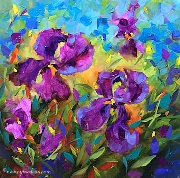 """""""Vanishing Violet Irises"""" original fine art by Nancy Medina"""
