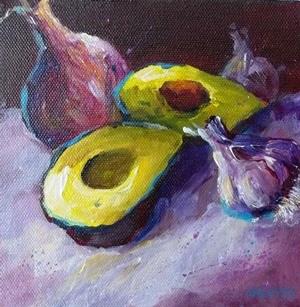 """""""Avocado Onion Garlic Still Life Food Art Original Painting"""" original fine art by Alice Harpel"""