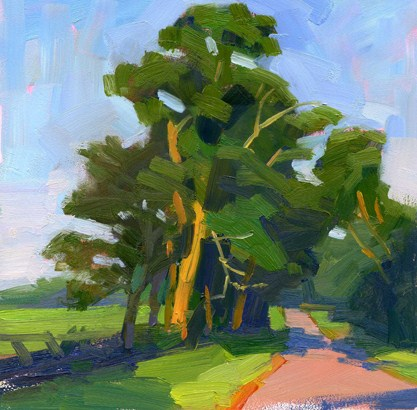 """Trees by the road"" original fine art by Kathy Weber"