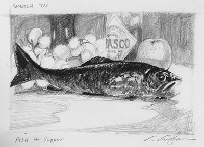 """""""Fish For Supper__Trout, sketch, fish"""" original fine art by V.... Vaughan"""