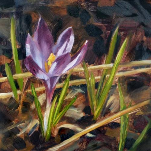 """""""Single Crocus"""" original fine art by Deb Anderson"""