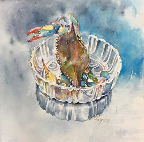 """blue crab"" original fine art by Wenqing Xu"