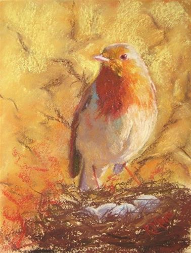 """Spring Robin"" original fine art by Ruth Mann"