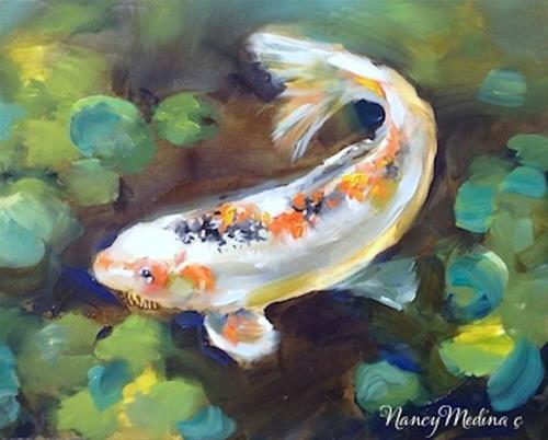 """Southern Belle White Koi Painting by Nancy Medina"" original fine art by Nancy Medina"