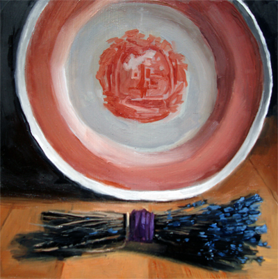 """Red and White Plate with Lavender"" original fine art by Michael William"
