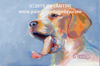 """""""Open Up and Say..... ~~ Painting a Dog a Day by Kimberly Kelly Santini"""" original fine art by Kimberly Santini"""
