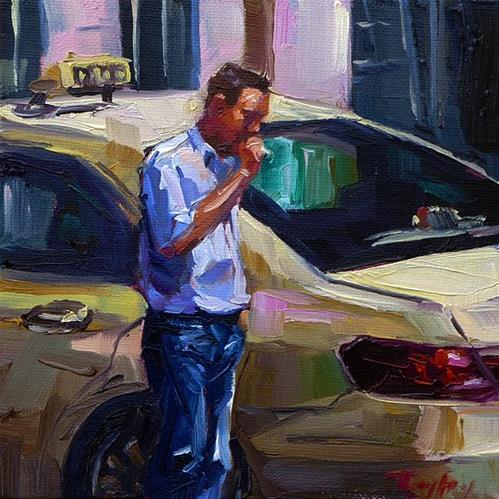 """""""Rauchpause"""" original fine art by Jurij Frey"""