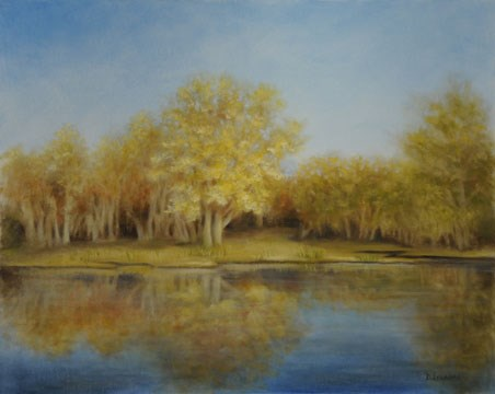 """Golden Reflection #1302"" original fine art by Dee Lessard"
