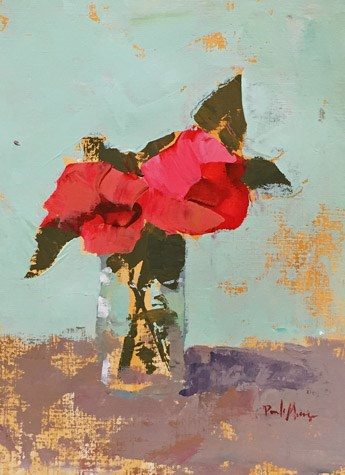 """red floral"" original fine art by Pamela Munger"