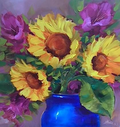 """""""Tennessee Ladies Sunflower Bouquet"""" original fine art by Nancy Medina"""