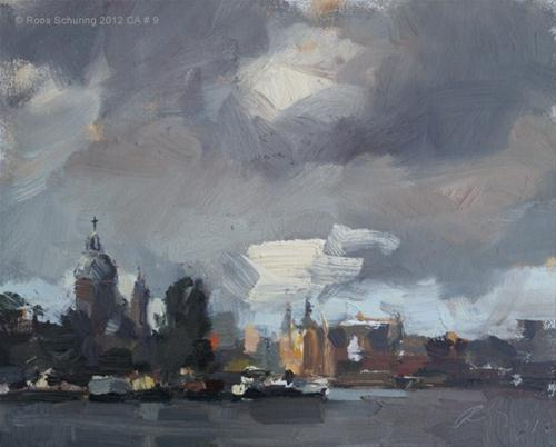 """""""Cityscape Amsterdam # 9 Rainy day at the docks view upon St. Nicolaas and Central Station"""" original fine art by Roos Schuring"""