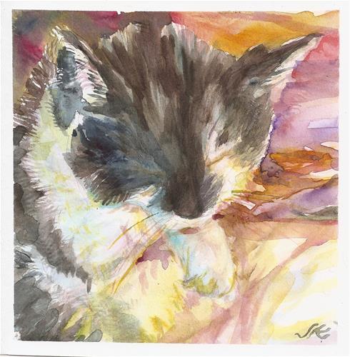 """Clean Cat"" original fine art by Jean Krueger"