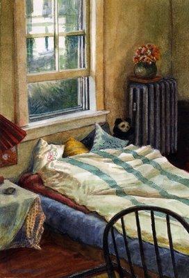 """Watercolor: Prospect Street Bedroom"" original fine art by Belinda Del Pesco"