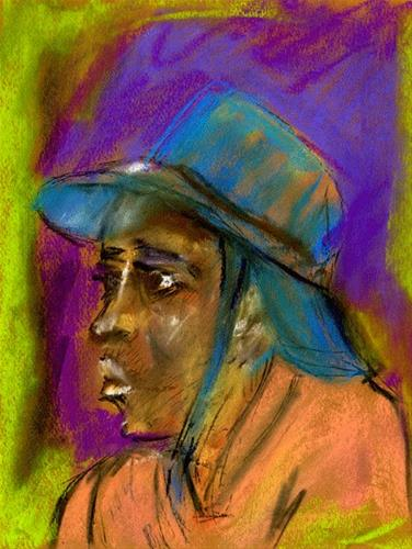 """""""He Likes Hats"""" original fine art by Donna Crosby"""