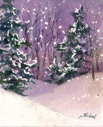 """""""Winter Twilight"""" original fine art by Sue Dion"""
