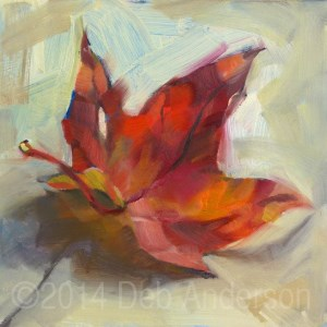 """""""Oil Painting of a Red Maple Leaf"""" original fine art by Deb Anderson"""