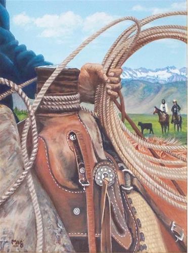 """High in the Saddle"" original fine art by John F McGowan"
