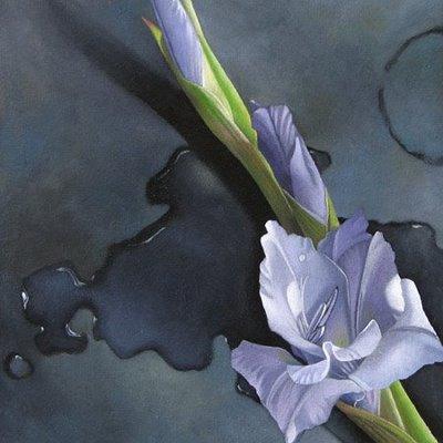 """""""Gladiolus on Bronze 6x6"""" original fine art by M Collier"""