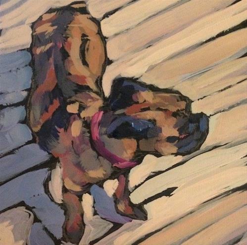 """""""Small Dog on the Studio Floor"""" original fine art by Kat Corrigan"""