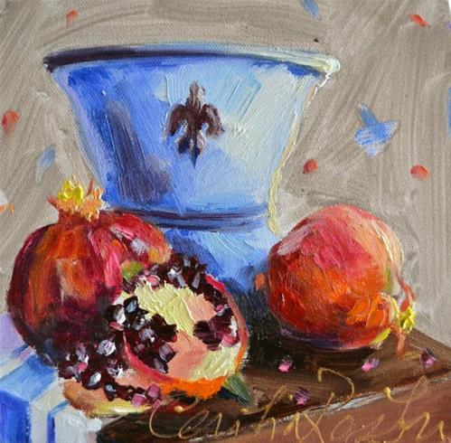 """POMEGRANATE STUDY"" original fine art by Cecilia Rosslee"