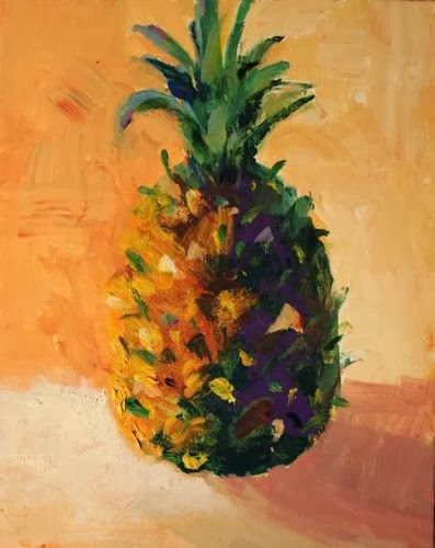 """""""Pineapple, Contemporary Still Life Paintings by Arizona Artist Amy Whitehouse"""" original fine art by Amy Whitehouse"""